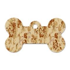 Patterns Flowers Petals Shape Background Dog Tag Bone (two Sides)