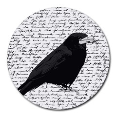 Black Raven  Round Mousepads by Valentinaart