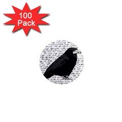 Black Raven  1  Mini Magnets (100 Pack)  by Valentinaart