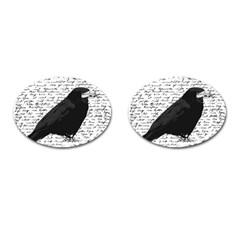 Black Raven  Cufflinks (oval) by Valentinaart