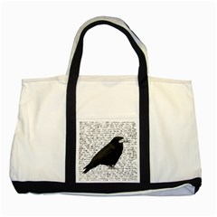 Black Raven  Two Tone Tote Bag by Valentinaart