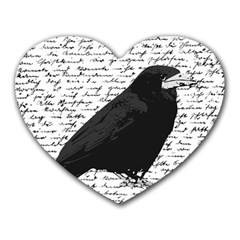 Black Raven  Heart Mousepads by Valentinaart
