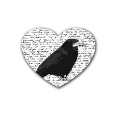 Black Raven  Rubber Coaster (heart)  by Valentinaart