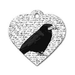 Black Raven  Dog Tag Heart (two Sides) by Valentinaart
