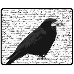 Black Raven  Fleece Blanket (medium)  by Valentinaart
