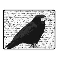 Black Raven  Fleece Blanket (small) by Valentinaart