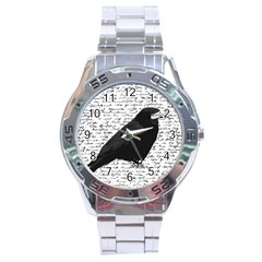 Black Raven  Stainless Steel Analogue Watch by Valentinaart