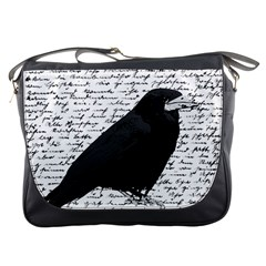 Black Raven  Messenger Bags by Valentinaart