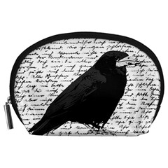 Black Raven  Accessory Pouches (large)  by Valentinaart