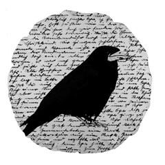 Black Raven  Large 18  Premium Flano Round Cushions by Valentinaart