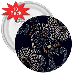 Patterns Dark Shape Surface 3  Buttons (10 Pack)  by Simbadda