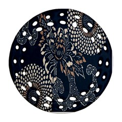 Patterns Dark Shape Surface Round Filigree Ornament (two Sides) by Simbadda