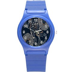 Patterns Dark Shape Surface Round Plastic Sport Watch (s) by Simbadda