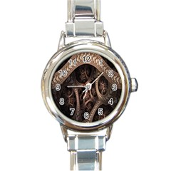 Patterns Dive Background Round Italian Charm Watch by Simbadda