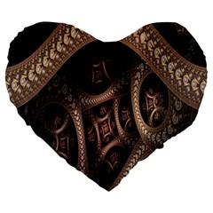 Patterns Dive Background Large 19  Premium Heart Shape Cushions by Simbadda