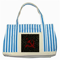 Communism  Striped Blue Tote Bag by Valentinaart