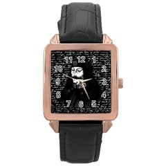 Count Vlad Dracula Rose Gold Leather Watch  by Valentinaart