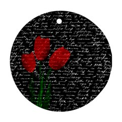 Red Tulips Ornament (round) by Valentinaart