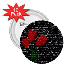 Red Tulips 2 25  Buttons (10 Pack)  by Valentinaart