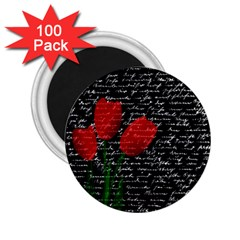 Red Tulips 2 25  Magnets (100 Pack)  by Valentinaart
