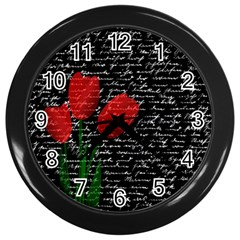 Red Tulips Wall Clocks (black) by Valentinaart