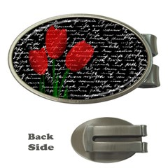 Red Tulips Money Clips (oval)  by Valentinaart