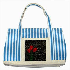 Red Tulips Striped Blue Tote Bag by Valentinaart