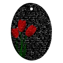 Red Tulips Oval Ornament (two Sides)