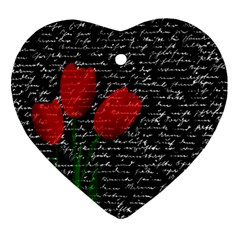 Red Tulips Heart Ornament (two Sides) by Valentinaart