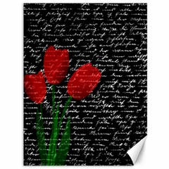 Red Tulips Canvas 36  X 48   by Valentinaart