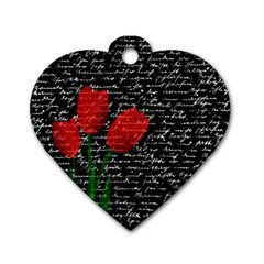 Red Tulips Dog Tag Heart (one Side) by Valentinaart