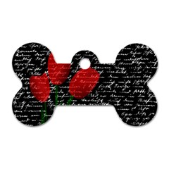 Red Tulips Dog Tag Bone (one Side) by Valentinaart