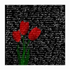 Red Tulips Medium Glasses Cloth (2 Side) by Valentinaart