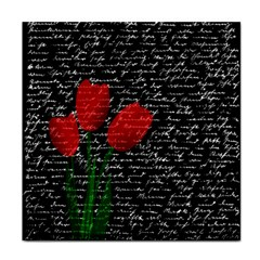 Red Tulips Face Towel by Valentinaart