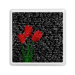 Red Tulips Memory Card Reader (square)  by Valentinaart