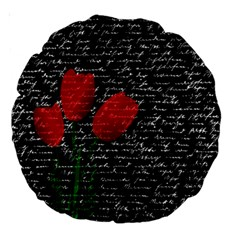 Red Tulips Large 18  Premium Round Cushions by Valentinaart