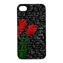 Red Tulips Apple Iphone 4/4s Hardshell Case With Stand by Valentinaart