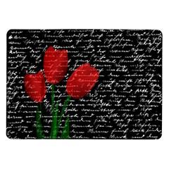 Red Tulips Samsung Galaxy Tab 10 1  P7500 Flip Case by Valentinaart