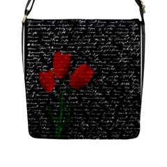 Red Tulips Flap Messenger Bag (l)  by Valentinaart