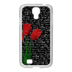 Red Tulips Samsung Galaxy S4 I9500/ I9505 Case (white) by Valentinaart