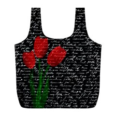 Red Tulips Full Print Recycle Bags (l)  by Valentinaart