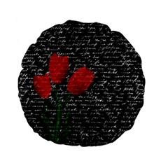Red Tulips Standard 15  Premium Flano Round Cushions by Valentinaart