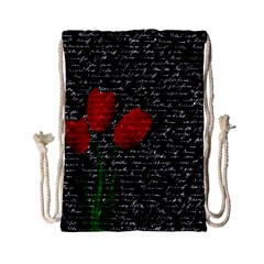 Red Tulips Drawstring Bag (small) by Valentinaart