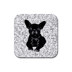 Cute Bulldog Rubber Square Coaster (4 Pack)  by Valentinaart