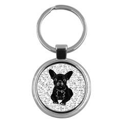 Cute Bulldog Key Chains (round)  by Valentinaart