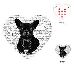 Cute Bulldog Playing Cards (heart)  by Valentinaart