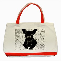 Cute Bulldog Classic Tote Bag (red) by Valentinaart
