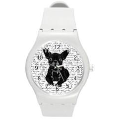 Cute Bulldog Round Plastic Sport Watch (m) by Valentinaart