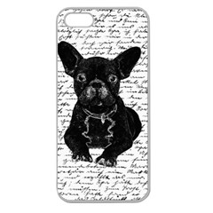 Cute Bulldog Apple Seamless Iphone 5 Case (clear) by Valentinaart