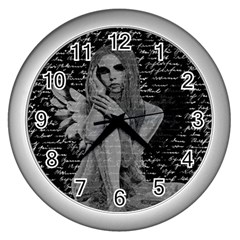 Angel Wall Clocks (silver)  by Valentinaart